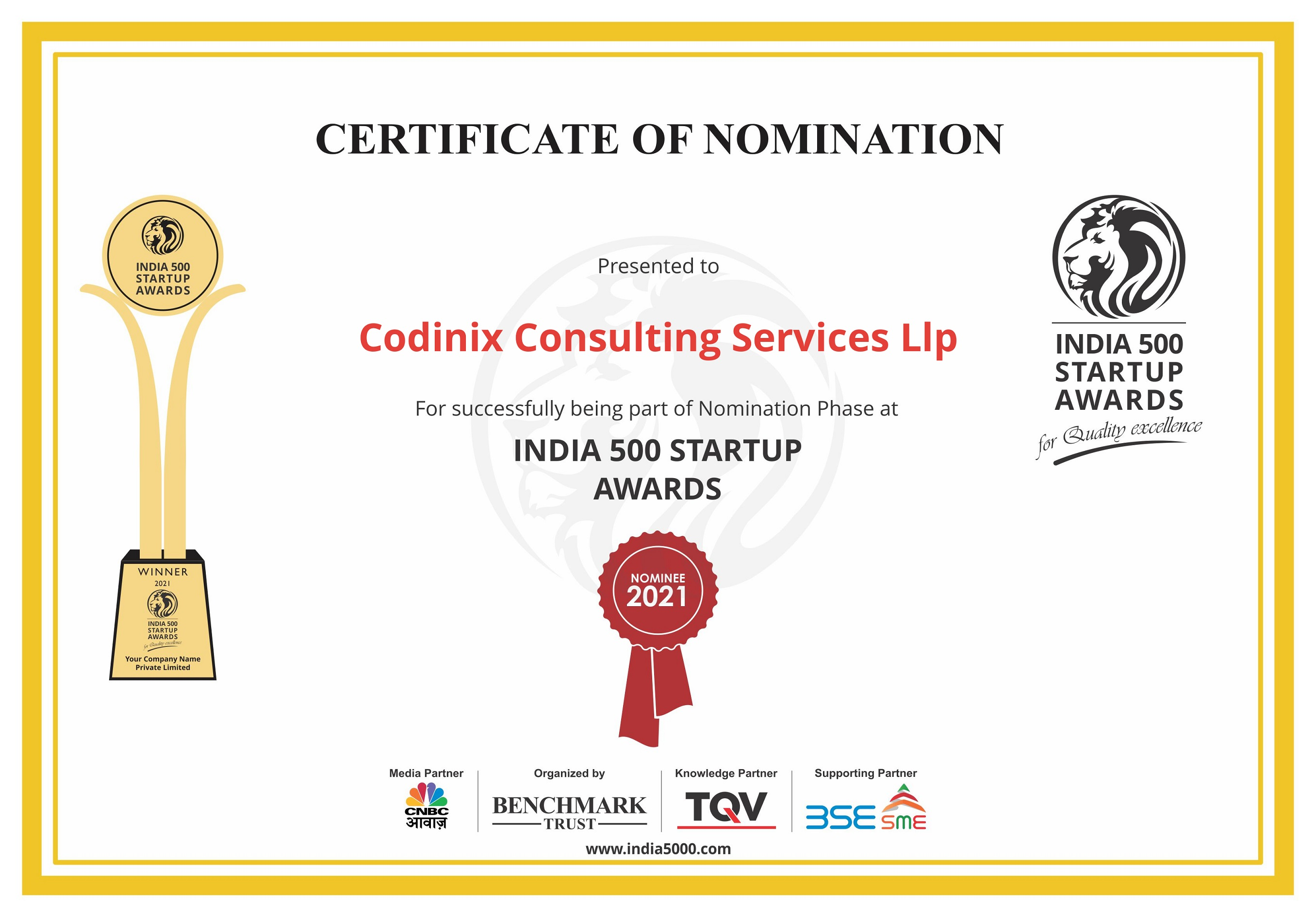 Codinix Received Certificate of Nomination for India 500 Startups Awards 2021